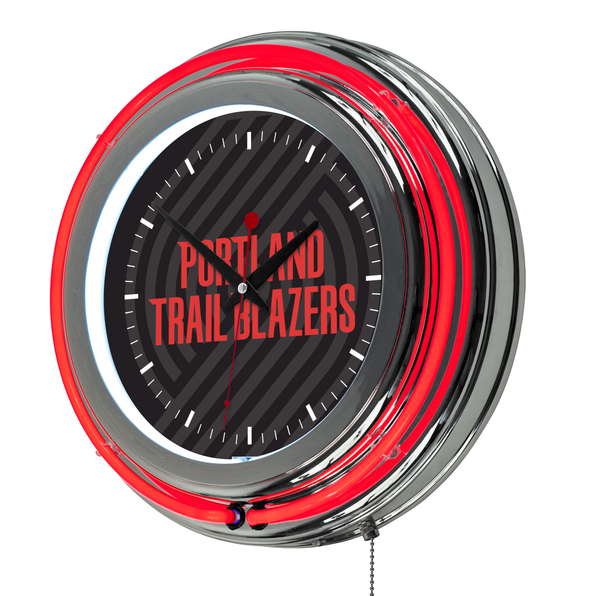 NBA Chrome Double Rung Neon Clock - Fade - Portland Trailblazers