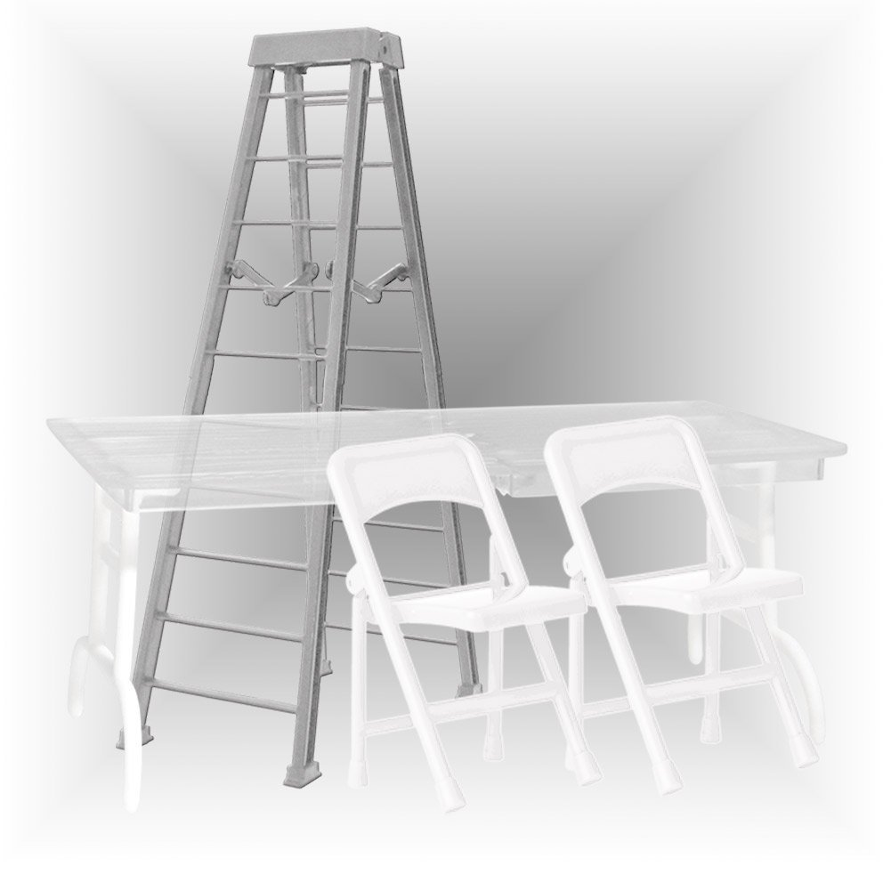 ULTIMATE Ladder, Table & Chairs Silver Playset for WWE Wrestling Action Figures by Figures Toy Company