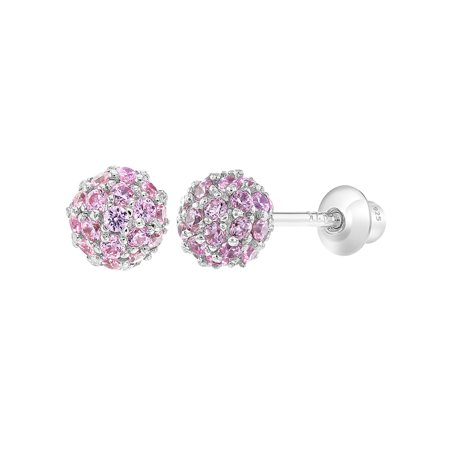 925 Sterling Silver Pink CZ Fireball Ball Screw Back Earrings Girls or Teens