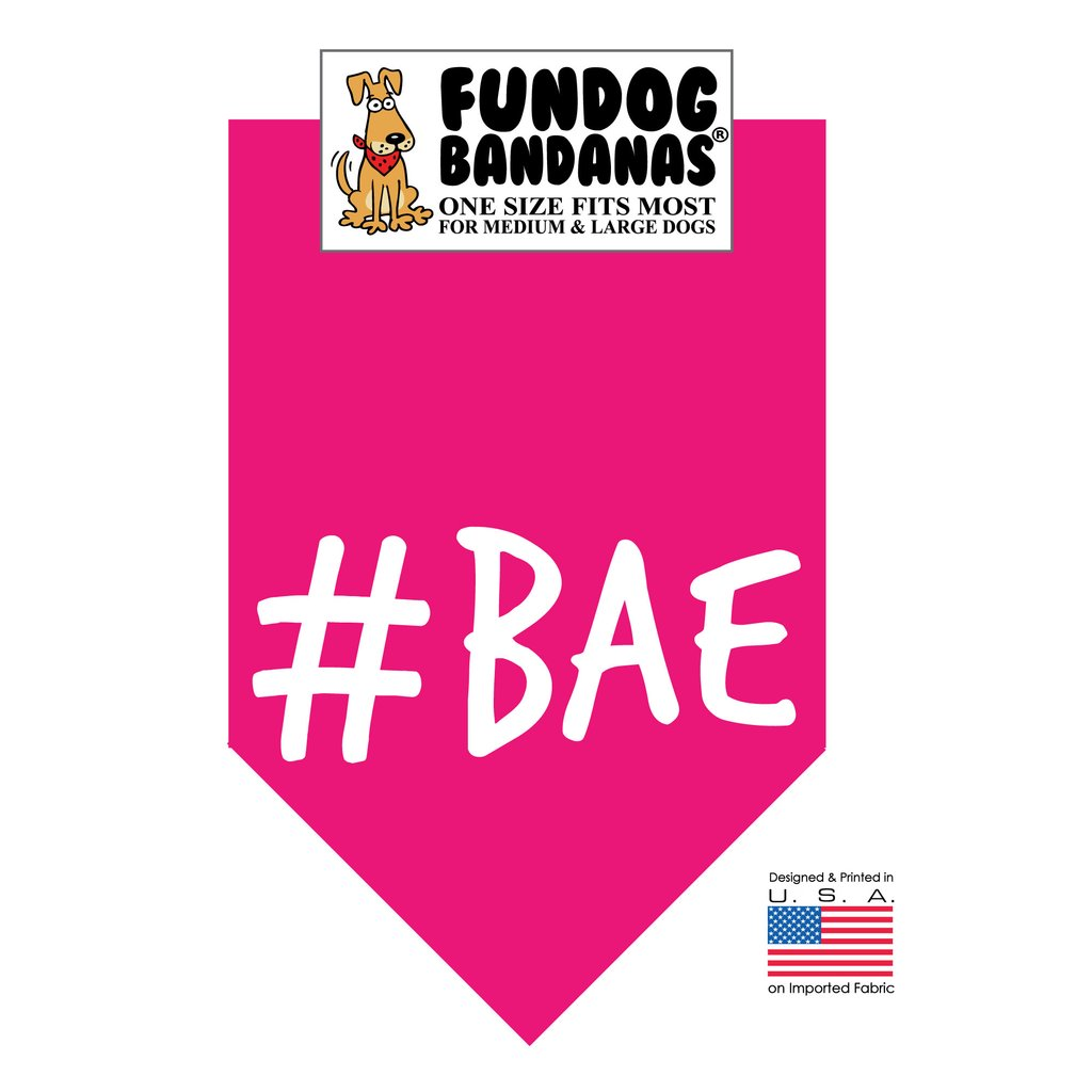 Fun Dog Bandana -#BAE - One Size Fits Most for Medium to Large Dogs, hot pink pet scarf