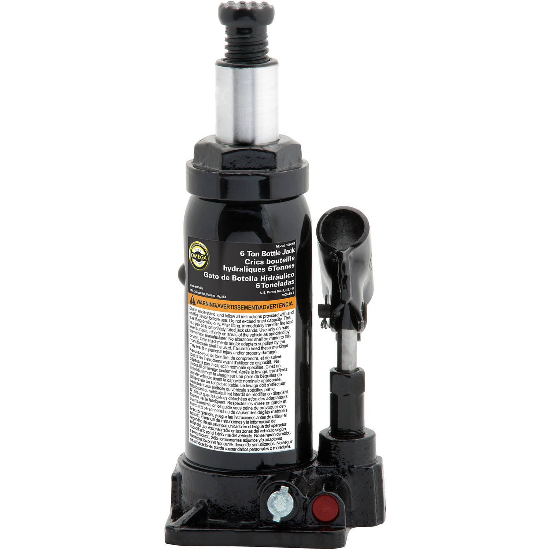 Omega 10065B Black Hydraulic Bottle Jack, 6 Ton Capacity