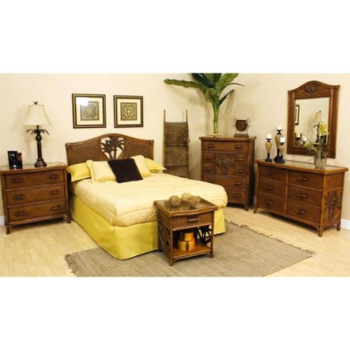 Cancun Palm 4 PC Bedroom Set in TC Antique Finish (Queen)