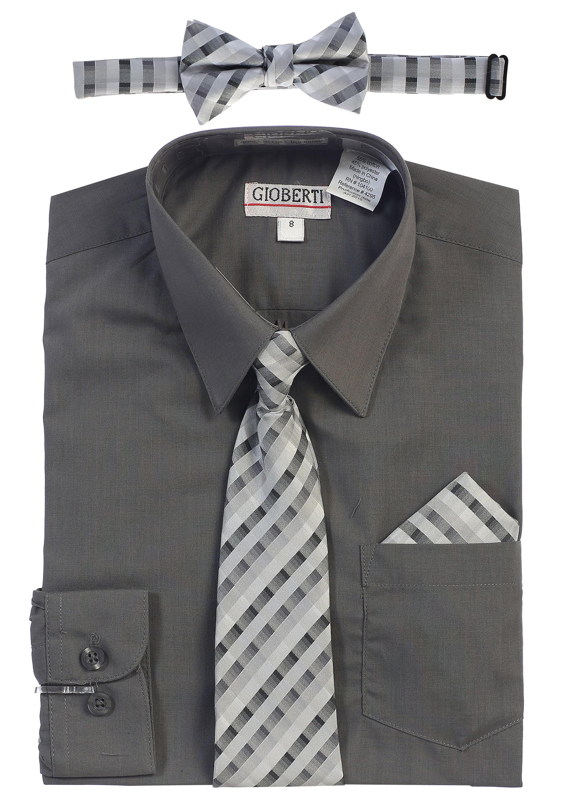242ab7480e7ad0 Gioberti - Gioberti Boy's Long Sleeve Dress Shirt and Tie Set - Walmart.com