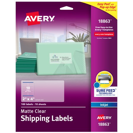 Avery Matte Clear Shipping Labels, Sure Feed Technology, Inkjet, 2