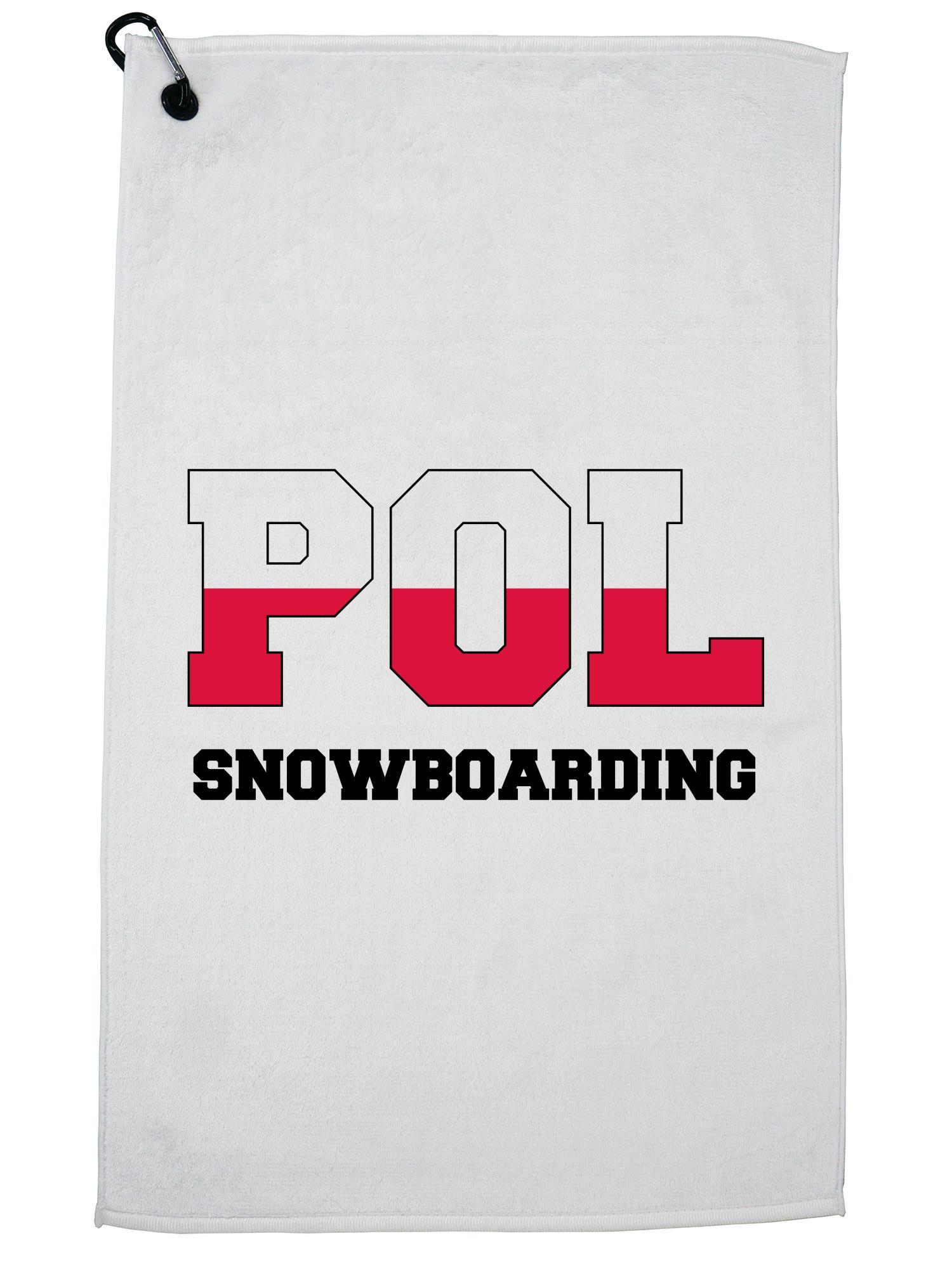 Polish Snowboarding Winter Olympic POL Flag Golf Towel with Carabiner Clip by Hollywood Thread