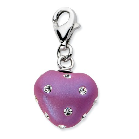 Amore La Vita Sterling Silver Purple Ferido and Stellux Crystal Heart Click-On Lobster Clasp Charm Pendant Purple Heart Crystal