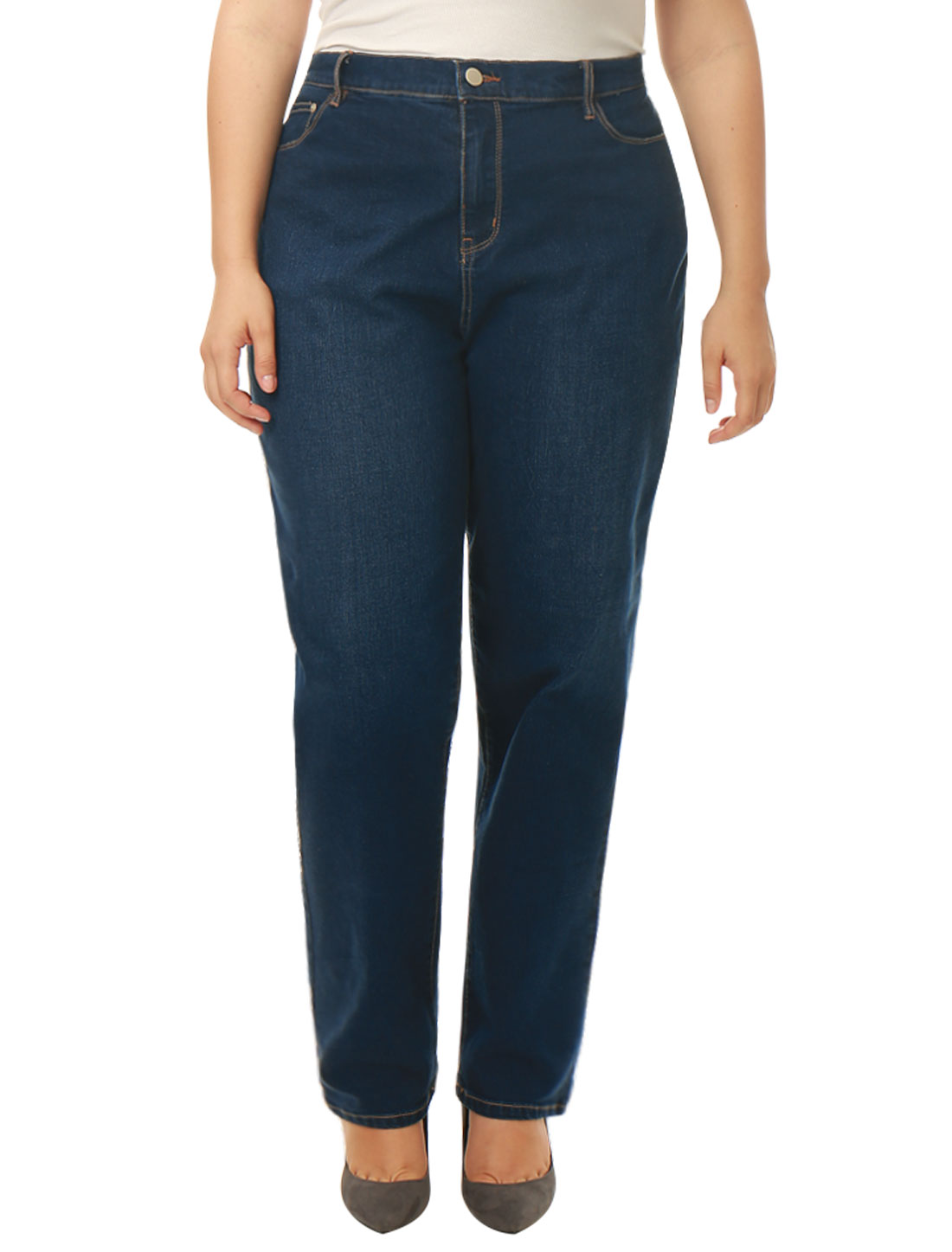 Unique Bargains Women's Plus Size Mid Rise Stretch Straight Leg Jeans