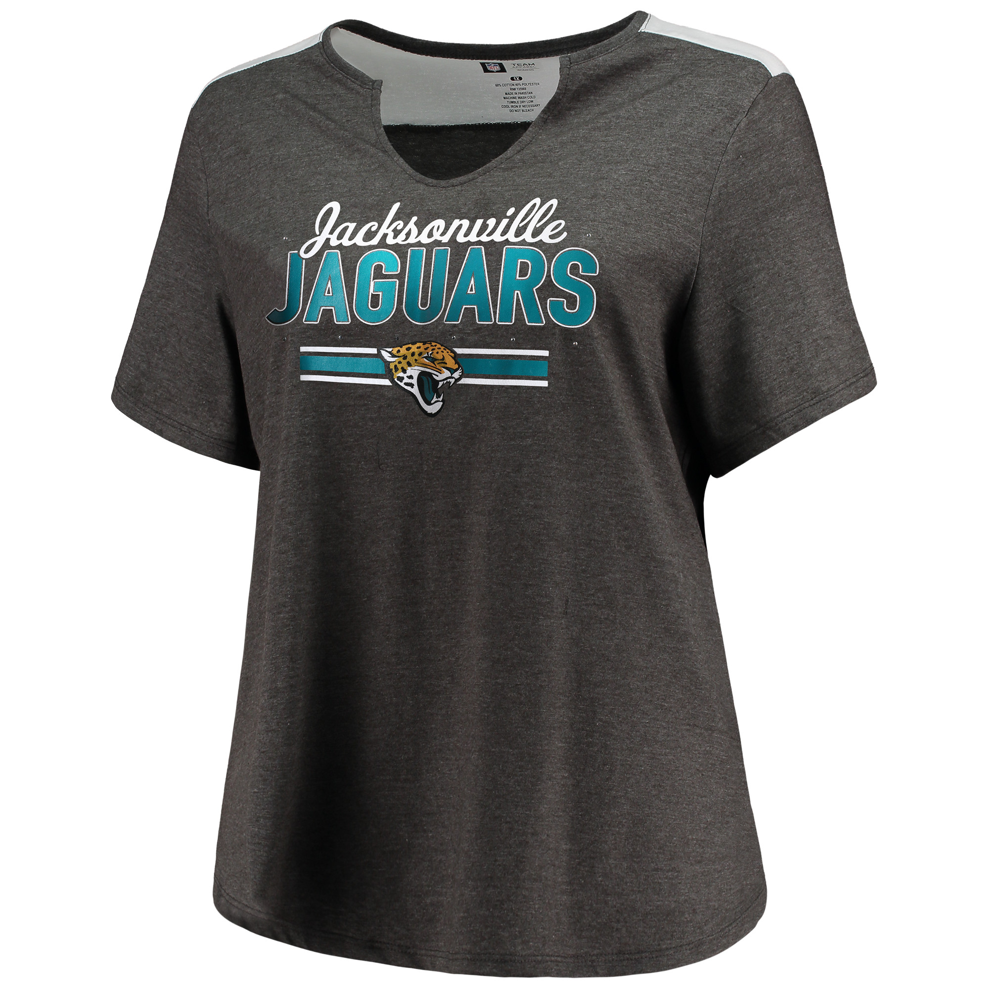 Women's Majestic Heathered Charcoal Jacksonville Jaguars Notch Neck Plus Size T-Shirt