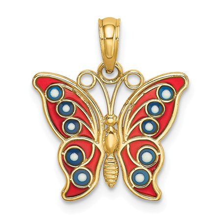 14k Yellow Gold and Red & Blue Stained Glass Filigree Butterfly Charm (Yellow Butterfly Stained Glass)