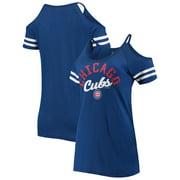 Chicago Cubs New Era Women's Slub Jersey Cold Shoulder T-Shirt - Royal