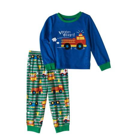 296d5c267 Peas   Carrots - Toddler Boys Fire Truck Pajamas 2pc Set - Walmart.com