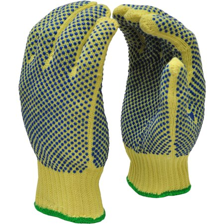 G & F Cut-Resistant 100 Percent Kevlar Gloves with PVC Dots on Both Sides, X-Large, 1 Pair