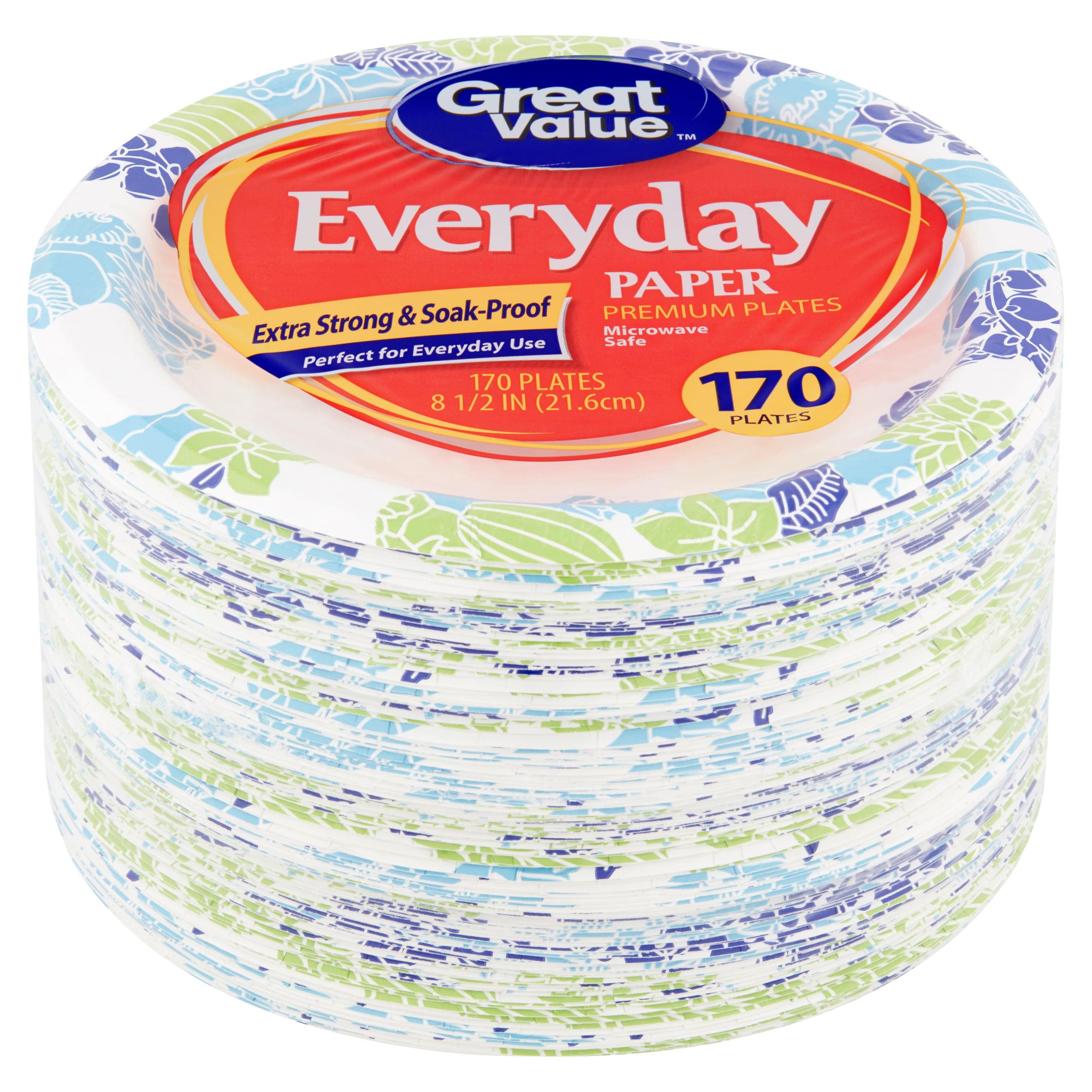 "Great Value Everyday Premium Paper Plates, 8 5/8"", 170 Count"