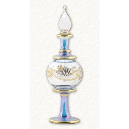 - Blue and Gold Etched Ball Egyptian Blown Pyrex Glass Perfume Bottle Made Egypt