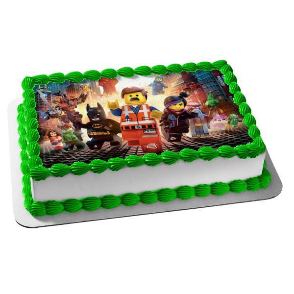 Superb Lego Movie Batman Emmet Lucy Green Lantern Wonder Woman Rex Edible Funny Birthday Cards Online Elaedamsfinfo