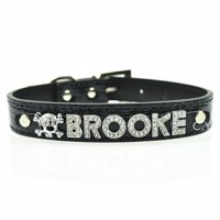 Personalized 10MM 5 Pcs Alphabet Reflective Leather Bling Rhinestone Pet Puppy Collar - Black Small