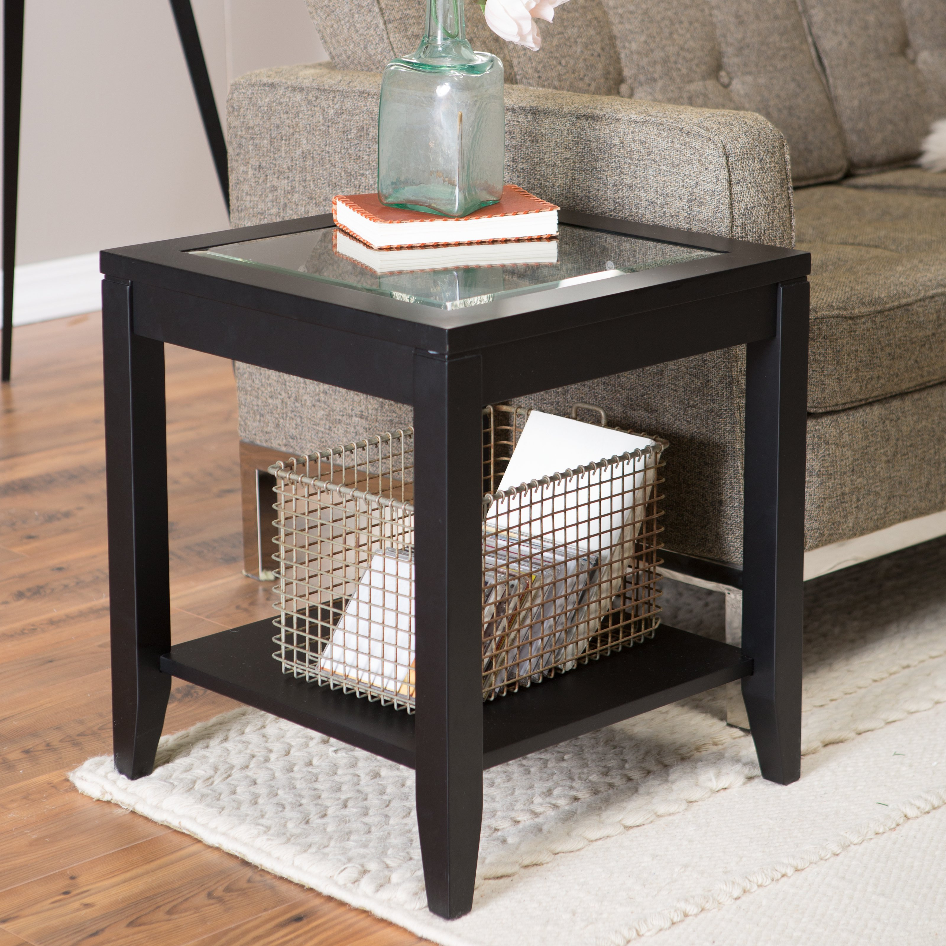 shelby glass top end table with quatrefoil underlay  walmartcom -
