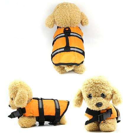 Pet Puppy Dog Life Jacket Swimming Float Vest Saver Safety Swimsuit Buoyancy Coat Preserver with Reflective Stripes/Adjustable Belt for Dog (Float Coat Dog Life Jacket)
