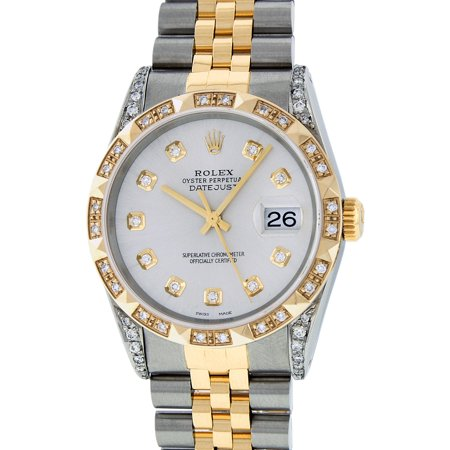 Pre-Owned Rolex Mens Datejust Steel & 18K Yellow Gold Silver Diamond Watch 16013 Jubilee