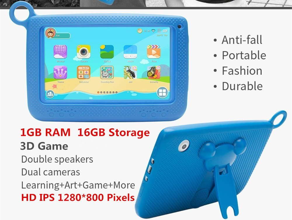 Kids Tablets Android5.1 7 Inch 1280x800 IPS Display 1GB RAM 16GB ROM with Parental Control Software iWawa Wifi... by Tianyida