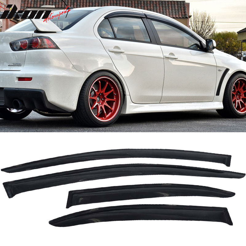 Fits 08-17 Mitsubishi Lancer Acrylic Window Visors 4Pc Set