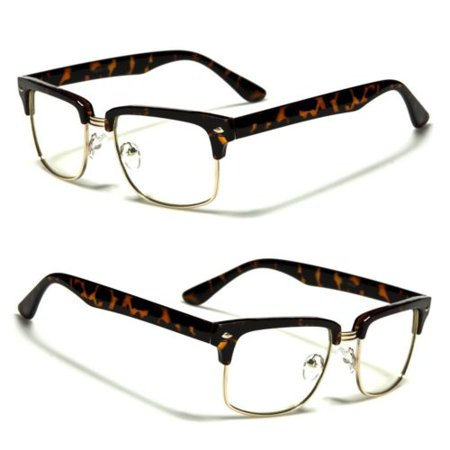 Fashion Vintage Unisex Clear Lens Nerd Frames Glasses men Women Half Metal (Wayfarer Fashion)