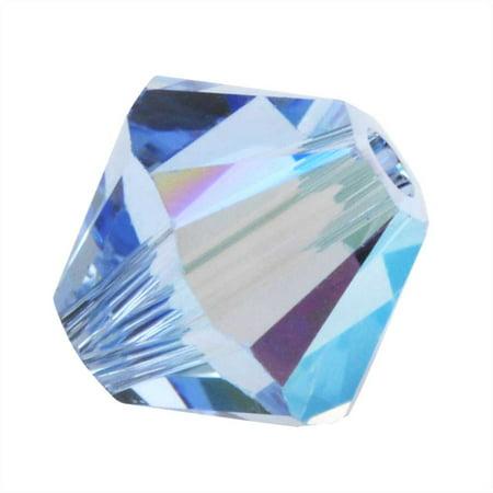 Swarovski Crystal, #5328 Bicone Beads 4mm, 24 Pieces, Light Sapphire Shimmer