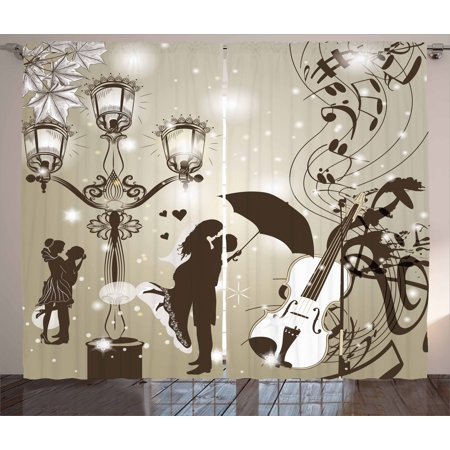 Romantic Curtains 2 Panels Set, Kissing Couples on Street with Lanterns Violin Music Notes Love Theme Graphic, Window Drapes for Living Room Bedroom, 108W X 63L Inches, Dust Dark Taupe, by Ambesonne - Couple Themes