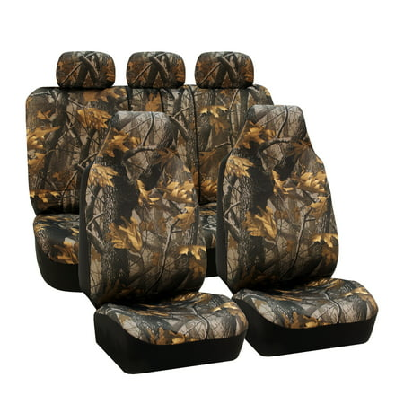 FH Group Hunting Camo / Camouflage Airbag Compatible and Split Bench Car Seat Covers, Full