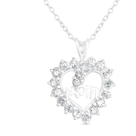 Cz Sterling Silver Heart  Mom  Pendant  18