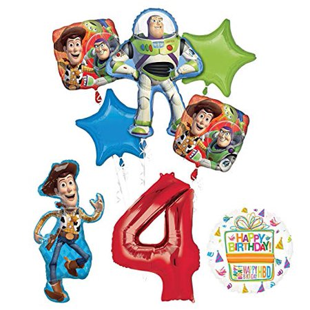 Mayflower Products Toy Story Party Supplies Woody, Buzz Lightyear and Friends 4th Birthday Balloon Bouquet Decorations - Woody Party Decorations