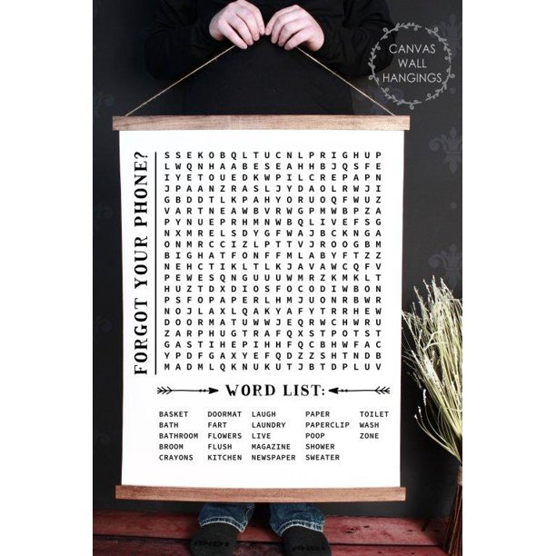 Wood Canvas Sign Wall Hanging Bathroom Word Search Forgot Phone Wall Art 23x30 Inch Walmart Com Walmart Com