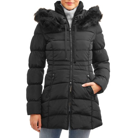 Celsius Women's Faux Fur Collar Long Heavy Puffer Jacket Leather Coat With Fur Collar