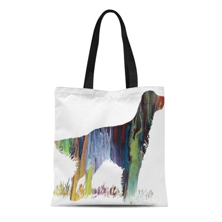 Setter Silhouette (ASHLEIGH Canvas Tote Bag Dog English Setter Silhouette Pictures Painting Portrait Reusable Handbag Shoulder Grocery Shopping Bags)