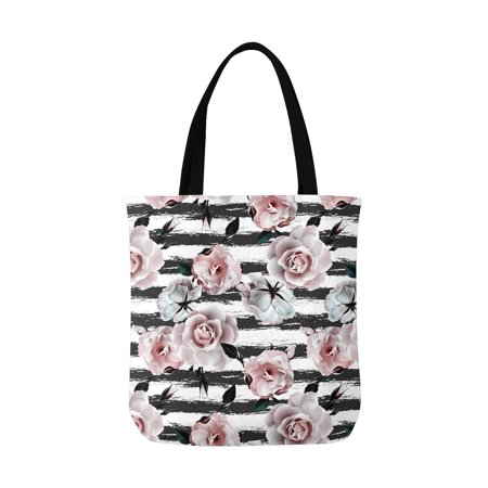ASHLEIGH Pink Roses Flower White and Black Stripes Unisex Canvas Tote Canvas Shoulder Bag Resuable Grocery Bags Shopping Bags for Women Men Kids - Black And White Striped Bag