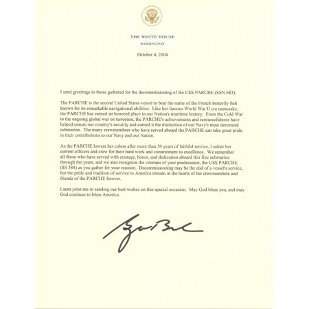 LAMINATED POSTER Decommissioning letter signed by President George W. Bush, dated 4 October 2004. Poster Print 24 x