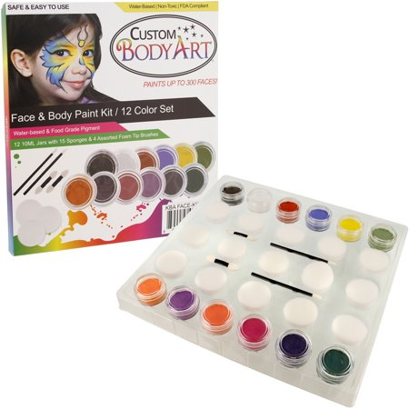 Face Painting For Halloween Kids (12 -10ml PRIMARY COLORS FACE PAINTING KIT Paint Set)