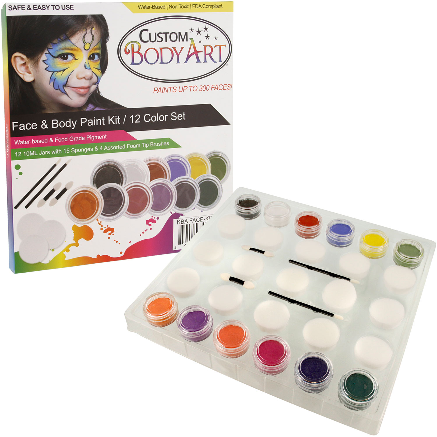 12 -10ml PRIMARY COLORS FACE PAINTING KIT Paint Set Kid