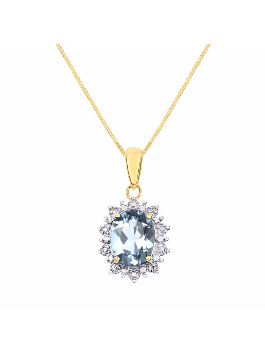 """Princess Diana Inspired Halo Diamond & Aquamarine Pendant Necklace Set In Set in 14K Yellow Gold With 18"""" Chain... by Rylos"""