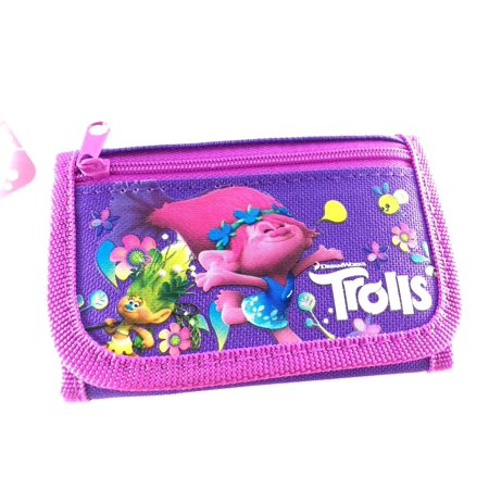 Party Favors Dreamworks Trolls Poppy 2 Card pockets Trifold Wallet (Purple)…
