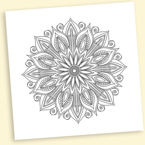 Deco Mandalas Coloring Wall Decal 12 x 12 Inches Repositionable