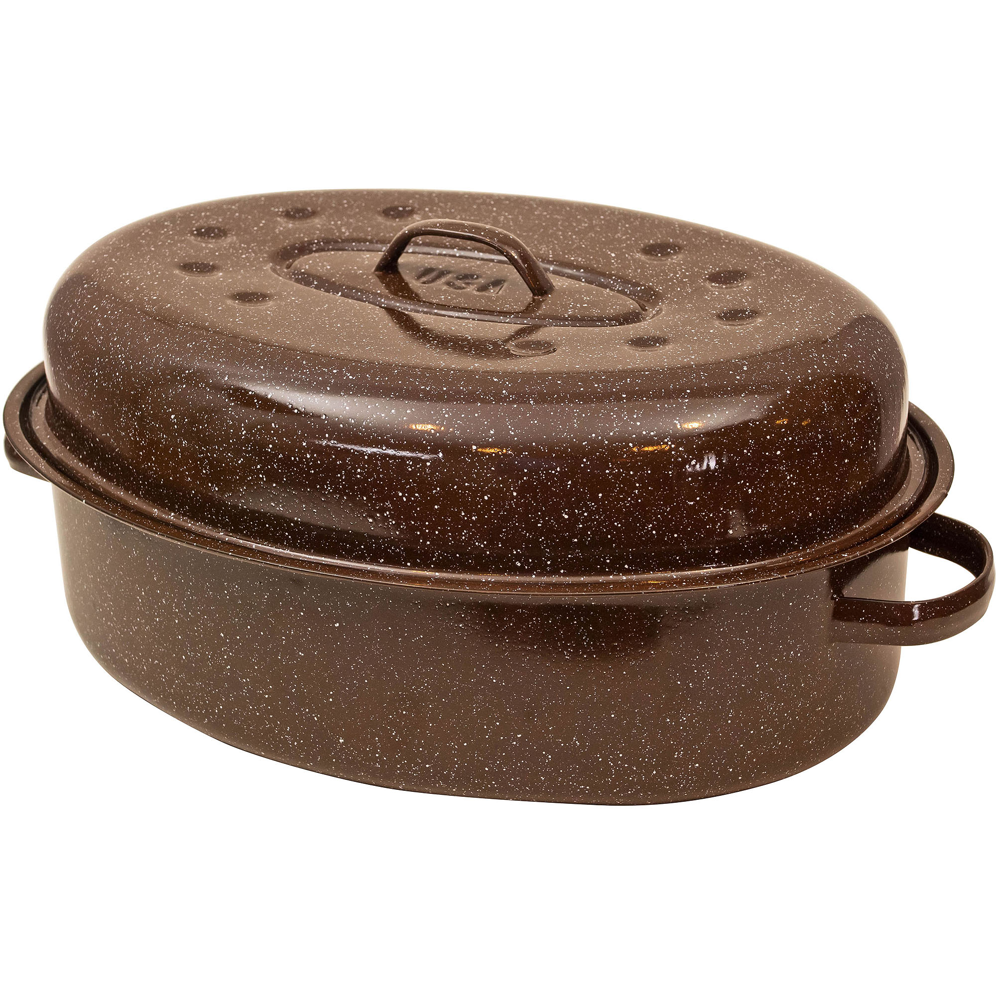 "Granite Ware 18"" Oval Roaster with Lid and Oval-Rack, Brown"