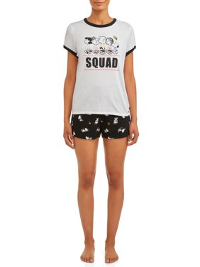Peanuts Women's and Women's Plus Short Sleeve Top and Sleep Set