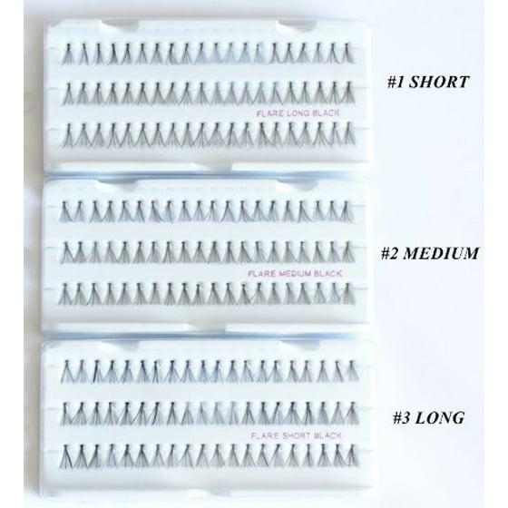 Individual False Flare Eyelashes 3 Full Set Flare Short Medium