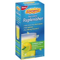 4 Pack - Emergen-C Electrolyte Replenisher  Drink Mix with 250mg Vitamin C, Lemon Lime Flavor 8 ea