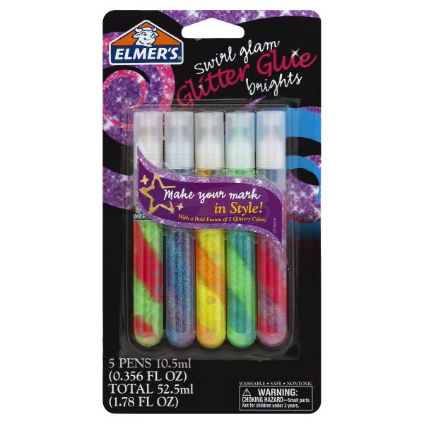 Elmers Products, Elmers Swirl Glam Brights Glitter Glue, 5 pens