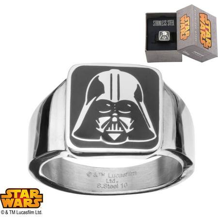 Disney Star Wars Men's Stainless Steel Darth Vader Square-Top Ring, Sizes 8-12