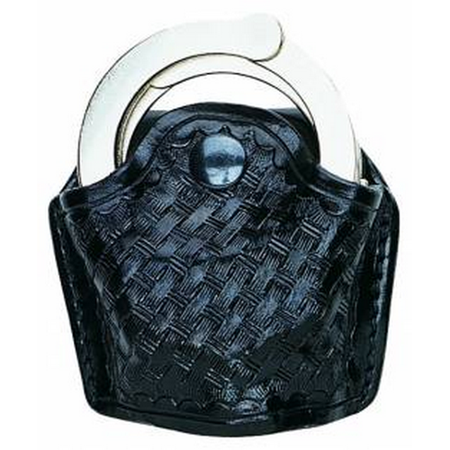 AKER LEATHER 606 Slim Open Hinged Handcuff Case Finish: Basket Weave