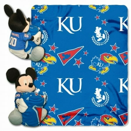 Official NCAA and Disney Cobrand Kansas Jayhawks Mickey Mouse Hugger Character Shaped Pillow and 40