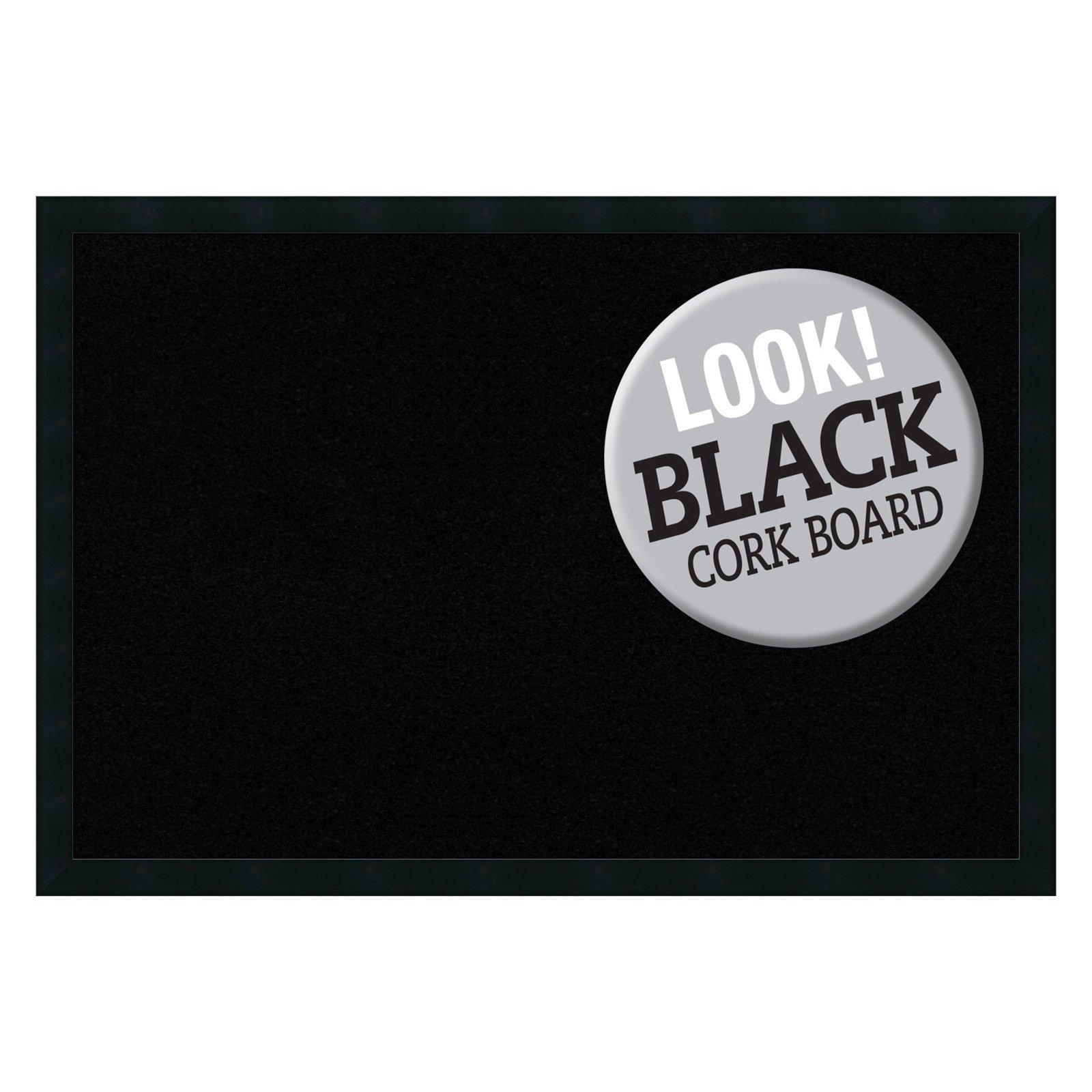 Amanti Art Mezzanotte Black Framed Cork Board
